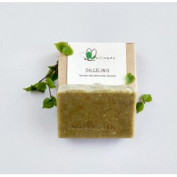 Shampoo bar with dried nettle leaves