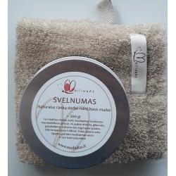Natural soft soap and linen sponge