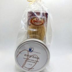 Natural shaving set - solid shaving soap with brush