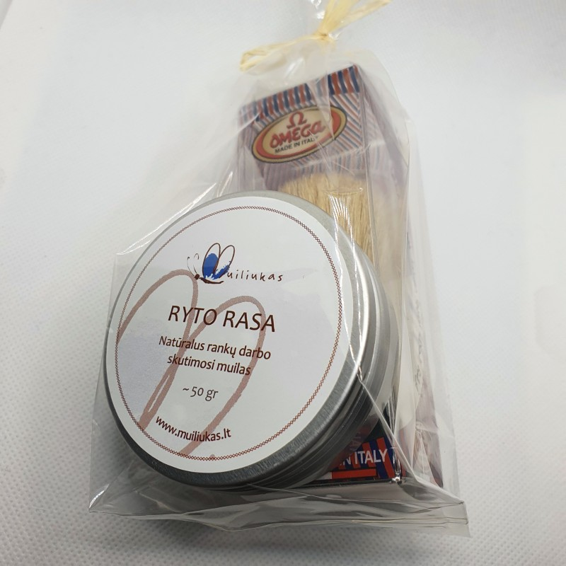Natural solid shaving soap with brush
